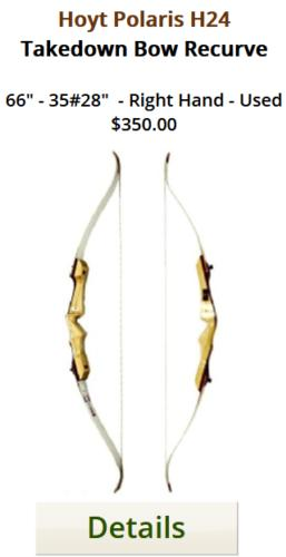 Hoyt Polaris H24 Takedown Bow|66in.-35lb.|Right hand|Used|For sale at Tradtional Archery Supply