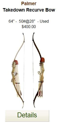 "Palmer Takedown Recurve Bow | 60"" - 50 # 