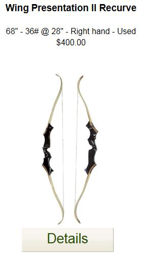 Wing Presentation II Recurve - Used - 68-36
