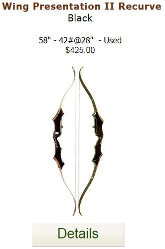 Wing Presentation 2 Recurve Bow - Black - Used - 58-42-