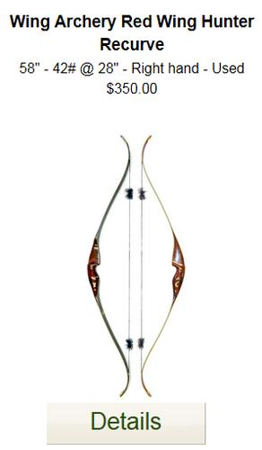 Wing Red Wing Hunter Recurve Bow - 58-42- Used