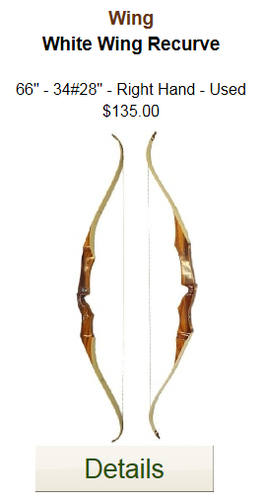 "Wing White Wing Recurve - 66"" - 34# - Used"